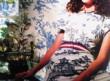 girl in wallpaper dress